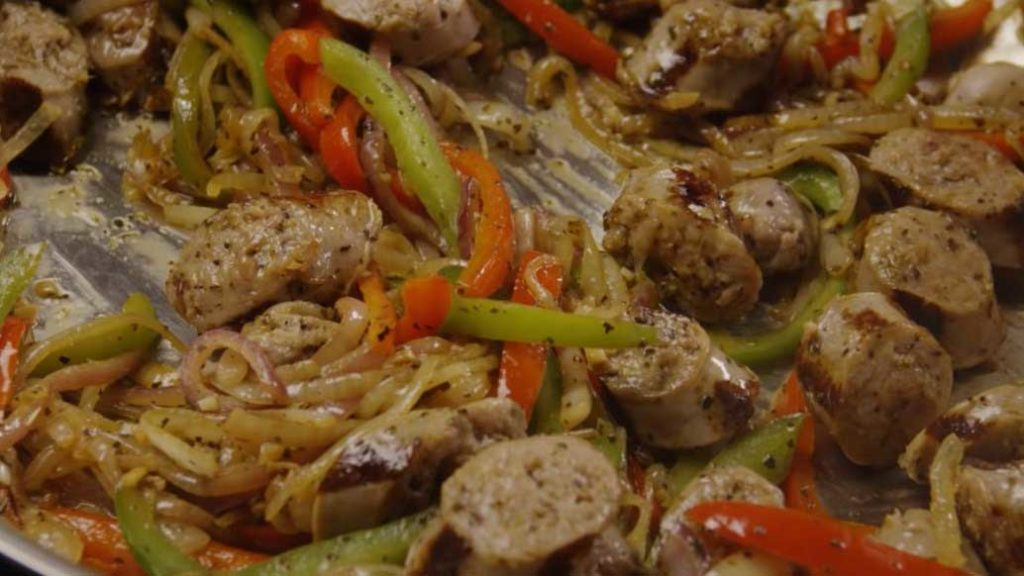 sausages served with Peppers and onions